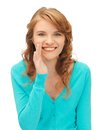 Teenage girl whispering gossip bright picture of Royalty Free Stock Images