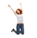 Teenage girl in white blank t shirt jumping activity and happiness concept smiling Stock Images