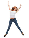 Teenage girl in white blank t shirt jumping activity and happiness concept smiling Stock Photos