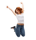 Teenage girl in white blank t shirt jumping activity and happiness concept smiling Stock Image