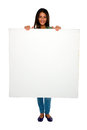 Teenage girl with white panel Royalty Free Stock Images