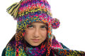 Teenage Girl With Winter Hat and Scarf Stock Photo