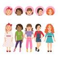 Teenage girls with avatar icons set