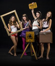 Teenage girls with camera Royalty Free Stock Photo