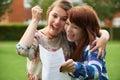 Teenage Girls Celebrating Good Exam Result Royalty Free Stock Photo
