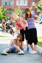Teenage girls having a fun Royalty Free Stock Photos