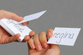 Teenage girls, holding file cards with latin vocabulary, learnin Royalty Free Stock Photo