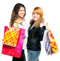 Teenage girls with shopping bags Stock Images