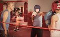 Teenage sportsman at boxing workout with coach