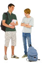 Teenage students with backpack and books on white background Royalty Free Stock Image