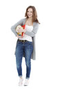 Teenage woman happy teenager holding books against the white background Royalty Free Stock Image