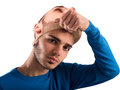 Teenager with adult mask Royalty Free Stock Photo