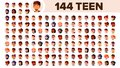 Teenager Avatar Set Vector. Multi Racial. Face Emotions. Multinational User People Portrait. Male, Female. Ethnic. Icon