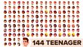Teenager Avatar Set Vector. Girl, Guy. Multi Racial. Face Emotions. Multinational User People Portrait. Male, Female