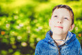 Teenager boy looked dreamily into the sky on a background of green spring bokeh Royalty Free Stock Photography