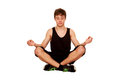 Teenager boy meditating relaxing workout isolated white background Stock Photography