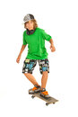Teenager boy on skateboard cool isolated white background Stock Photography