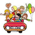 Teenager in the car young people having fun humorous illustration Royalty Free Stock Photo