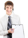 Teenager with clipboard happy isolated on the white background Stock Photo