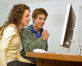 Teenager couple computer Stock Image