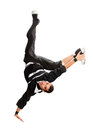 Teenager dancing break dance in action over white Royalty Free Stock Photos