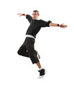 Teenager dancing break dance in action over white Royalty Free Stock Photography