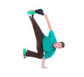 Teenager dancing break dance in action over white Stock Photography