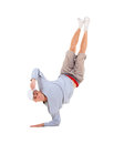 Teenager dancing break dance in action over white Royalty Free Stock Photo