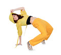 Teenager dancing breakdance in action break dance over white Stock Photos