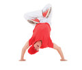 Teenager dancing breakdance in action break dance over white Stock Photography