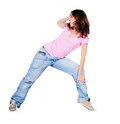 Teenager dancing breakdance in action break dance over white Royalty Free Stock Images