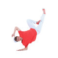Teenager dancing breakdance in action break dance over white Stock Images