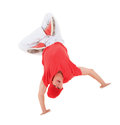 Teenager dancing breakdance in action break dance over white Stock Photo