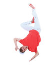 Teenager dancing breakdance in action over white Stock Photo