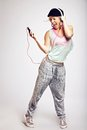 Teenager Dancing to Hip Hop Music Stock Image
