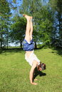 Teenager exercising handstand Royalty Free Stock Photo