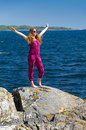 Teenager feel freedom on a sea coast swedish sunny Royalty Free Stock Photo