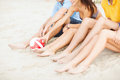 Teenager friends or volleyball team having fun summer holidays vacation and happy people concept close up of on the beach Stock Image