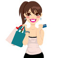 Teenager girl shopping beautiful holding bags and credit card Stock Photography