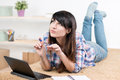 Teenager girl studying at home Royalty Free Stock Photo