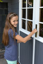 Teenager girl at summer house Royalty Free Stock Photo