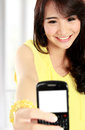 Teenager girl take the picture her self happy with handphone Royalty Free Stock Image