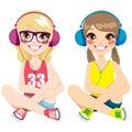 Teenager Girls Listening Music Royalty Free Stock Photography