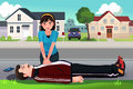 Teenager giving a CPR to a middle aged man Royalty Free Stock Photo