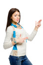 Teenager hand guns gesturing wears colored scarf isolated on white Stock Photo