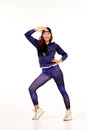 Teenager in hip hop outfit performing different dance steps Royalty Free Stock Photos