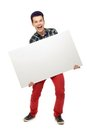 Teenager holding blank poster Stock Photos