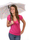 Teenager holding umbrella Royalty Free Stock Photos