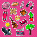 Teenager Lifestyle Fashion Stickers, Patches and Badges Set. Teen Elements Doodle