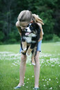 Teenager with pet dog Stock Images